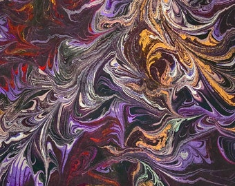 """Marbled and Dyed Cotton Fabric, 1 yard (36"""" x 41""""), Artist Hand Made in the USA"""