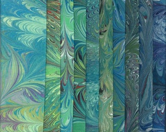 """Cotton Fabric Greens Variety Pack, Hand Painted, Dyed and Hand Marbled, 10 Pieces - 9"""" x 10"""", High Quality Fabric & Artist Made in the USA"""