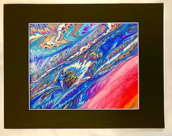 """Marbled Painting, Original One-of-a-Kind Hand Painted by Artist, Measures 11"""" x 14"""", Matt Frame"""