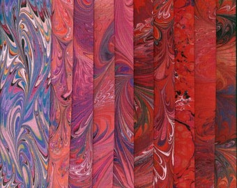 """Cotton Fabric Reds Variety Pack, Hand Painted, Dyed and Hand Marbled, 10 Pieces - 9"""" x 10"""", High Quality Fabric & Artist Made in the USA"""