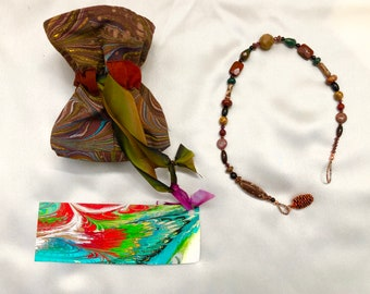 Unique Hand Made Prayer Beads & Free Cotton Gift Bag with Silk Drawstring (Also Hand Made),Each Prayer Bead is One-of-a-Kind! FREE SHIPPING!