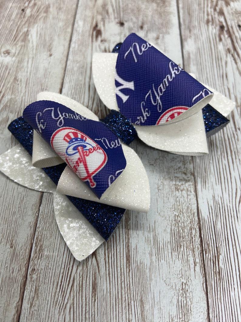 baseball hair bow faux leather bows New York Yankees