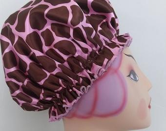 Brown and Bright Pink Giraffe Satin Bouffant Shower Cap
