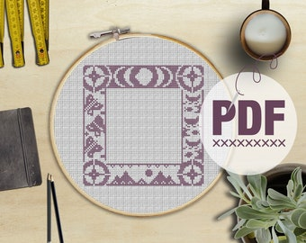 Cross Stitch Sampler Adventure Border (with Moon Phases, Mountains, Butterflies, Canoes & Fish)