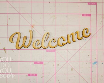 """Wood """"Welcome"""" Text Craft Supply"""