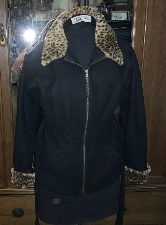 Jason Kole eighty percent wool jacket faux fur cuf