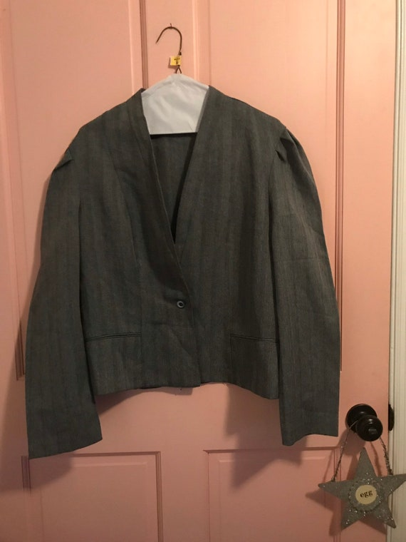 See pics carefully for condition and flaws prep 1980s   proper ladies 2 piece dress and jacket  contrast khaki on navy dress PREP /& PLAID