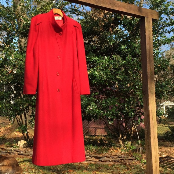 COLOR POP- Red- 1940s long coat. Pleated and padde