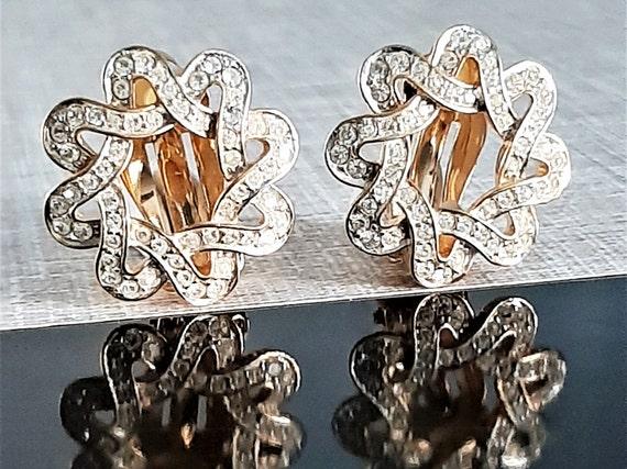 Vtg Nina Ricci Earrings, Ricci Diamante Earrings,