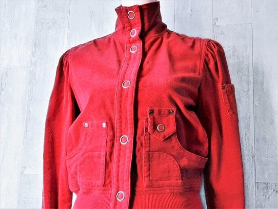 Red Corduroy Jacket, 1990s Women's Corduroy Jacket