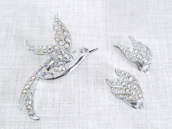 Bird of Paradise Brooch Earring Demi Parure, Bird