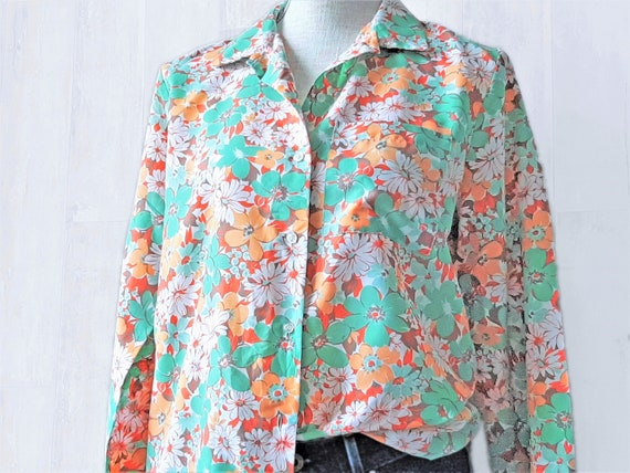 Bold Floral 80s Blouse, Colourful 1980s Vintage Bl