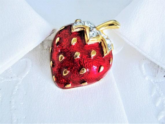 Vtg Strawberry Brooch, Enamel Strawberry Brooch, D