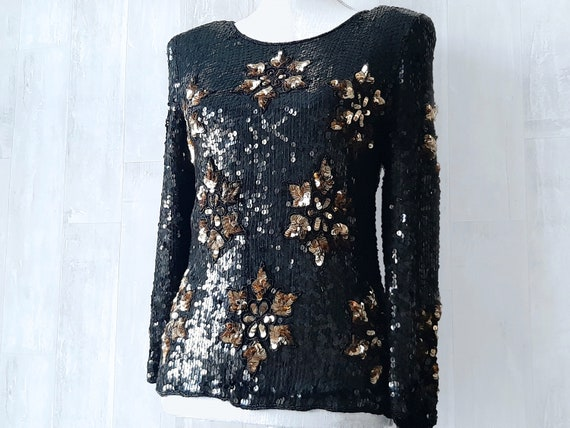 Stunning Sequin Top, Frank Usher Sequin Top, 1980s