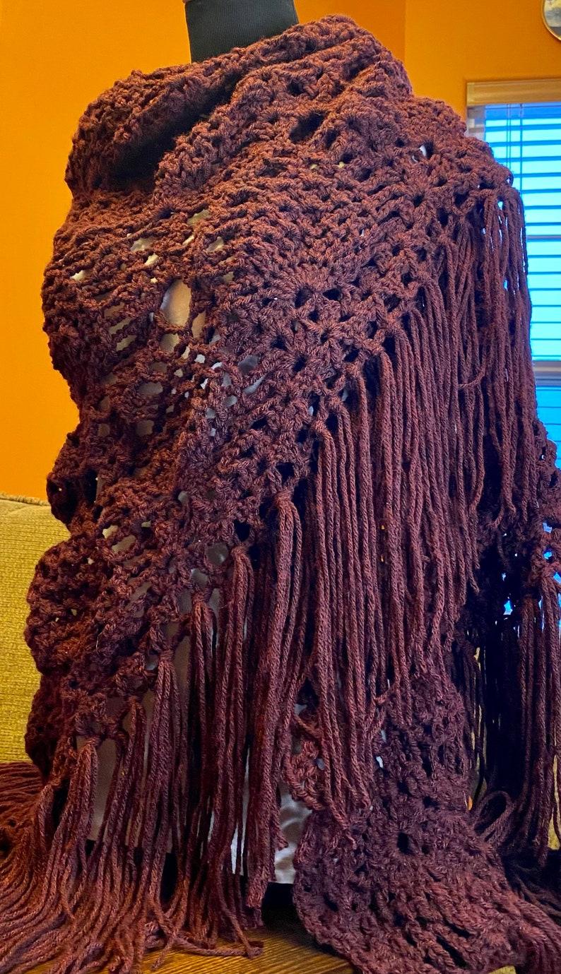 Large airy wrap. Boho fringe wrap Burgundy shawl Pineapple stitch triangle scarf