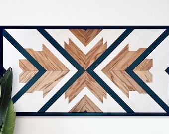 Brixon Geometric Wood Wall Art, Wood Wall Art, Reclaimed Wood Wall Art, Wood Wall Art Geometric, Customizable Accent Color