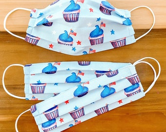 Custom Sizing / Flag Cupcakes Face Mask / 100% cotton / Pellon Interfacing / Washable / Reusable / Elastic straps / Made in USA