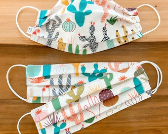 Custom Sizing / Mod Desert Face Mask / 100% cotton / Pellon Interfacing / Washable / Reusable / Elastic straps / USA / Spoonflower fabric