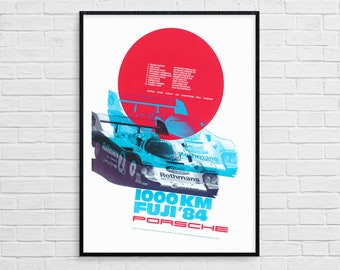 Porsche 1000 km Fuji 1984 Race Print on Paper /& Canvas Giclee Poster