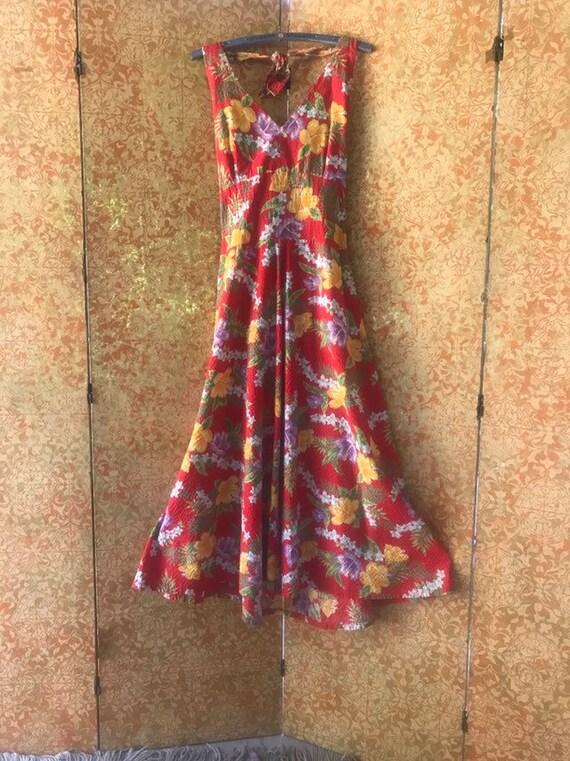 Vintage Hawaiian Maxi Dress Hibiscus Print Halter