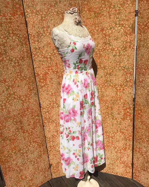 90s Vintage Laura Ashley Dress S Strawberry Rose … - image 3
