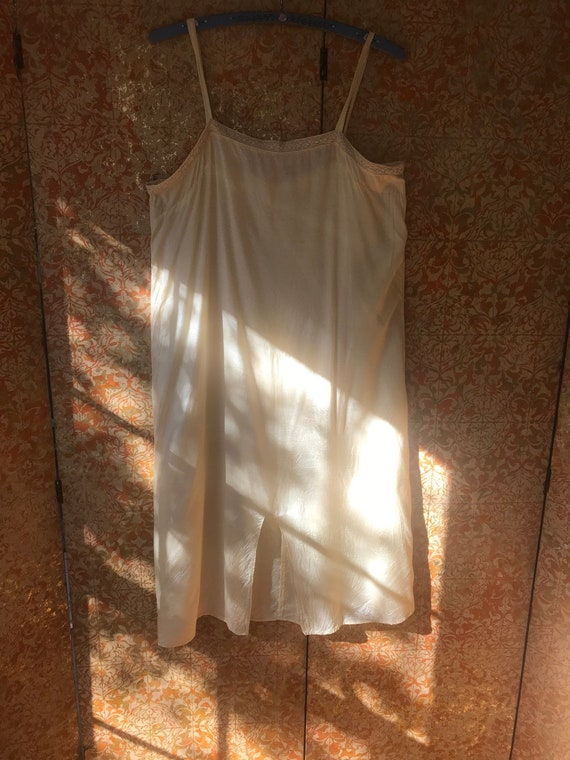 70s Does 30s Vintage Chemise Ivory Nightgown Cotto