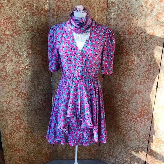 80s Vintage Dress Watercolor Print Dress Size 6 Dr
