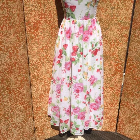 90s Vintage Laura Ashley Dress S Strawberry Rose … - image 7