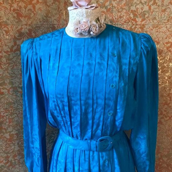 80s Secretary Dress Vintage Turquoise Dress Medium