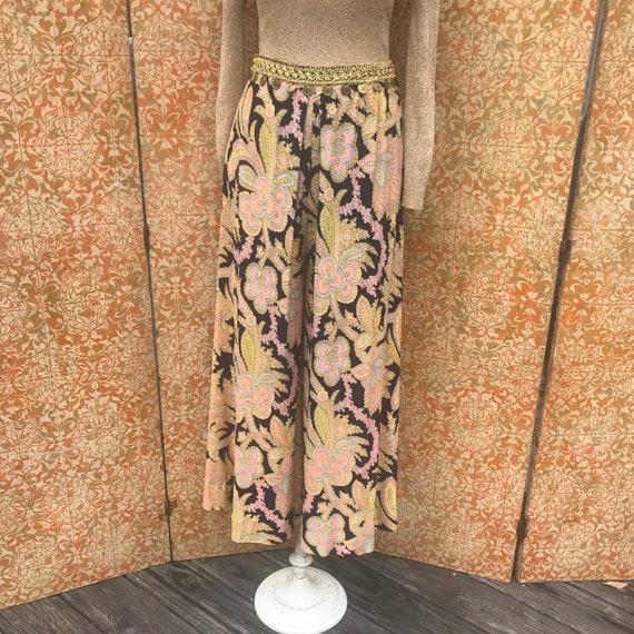 70s Vintage Paisley Palazzo Pants XS/S Nylon Bell… - image 2