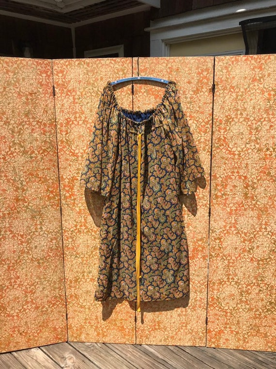 70s Vintage Paisley Peasant Dress Boho Hippie Maxi