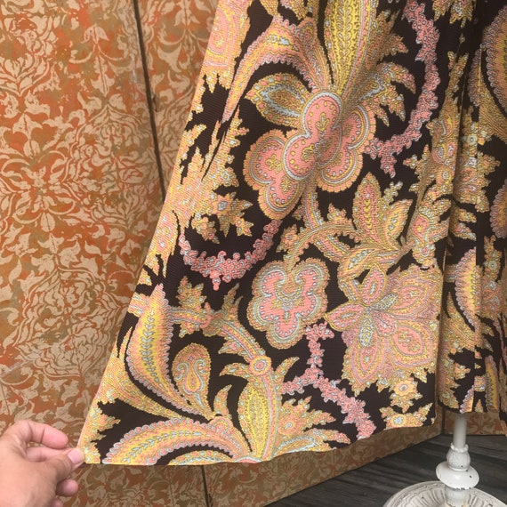 70s Vintage Paisley Palazzo Pants XS/S Nylon Bell… - image 1