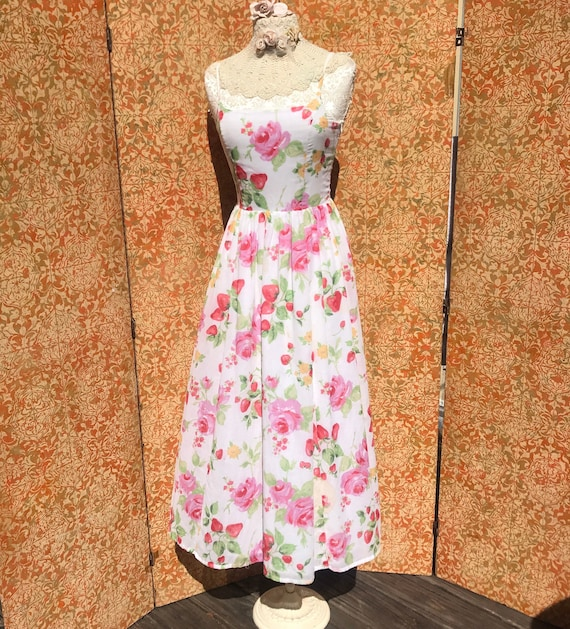 90s Vintage Laura Ashley Dress S Strawberry Rose … - image 1