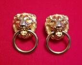 Vintage Lions Head Door Knocker Earrings Lion Jewelry Gold tone Door Knockers Clip on Earrings 1970s Fashion Jewelry