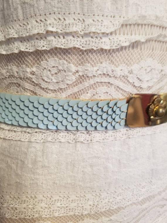 MCM Belt Powder Blue Belt with Brass Buckle Stret… - image 4