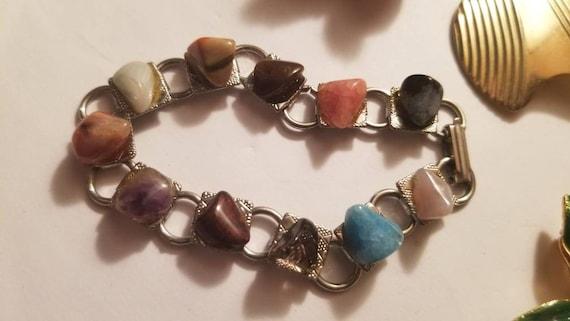Southwestern Rock Hound Polished Agate Link Bracelet Gold Tone Vintage 50/'s Rust Tumbled Stone Bracelet Tumbled Stone Bracelet Geology