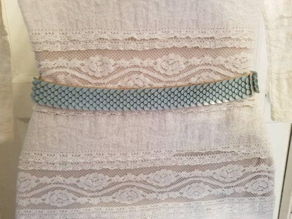 MCM Belt Powder Blue Belt with Brass Buckle Stret… - image 3