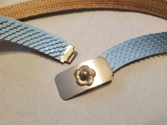 MCM Belt Powder Blue Belt with Brass Buckle Stret… - image 6