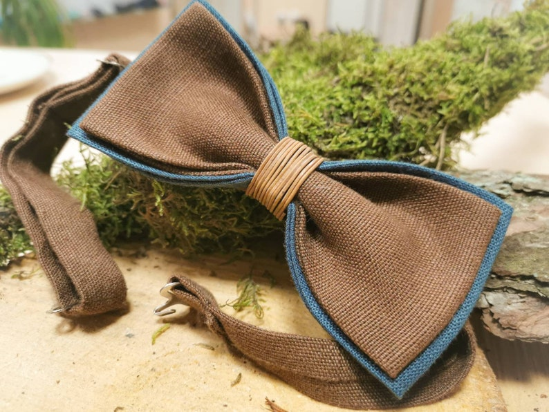 Brown Bow TiesBow Tie For Men100/% Linen Bow TieMade in LithuaniaWeddings Bow TieHandmadeOrganicFashionCool Design Bow Tie