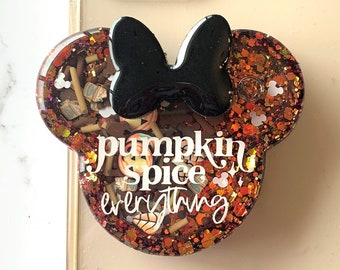 Fall Pumpkin Spice Everything Mouse Ears Shaker Custom Design Phone Grip, Phone Topper, Charm, Badge Reel or Resin Piece Only