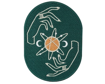 Soul of The Moon Collection: Solar System Patch to Iron on | Moon, Sun Patches, Hand, Star Iron Patch, Hands Patch, Ring Patch