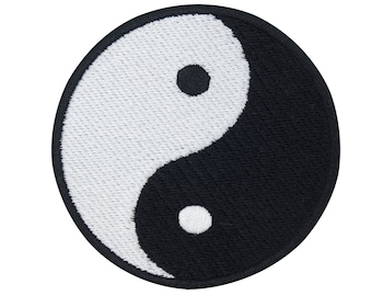 Yin and Yang Ironing Patch for Ironing   black, white, ying, yoga, chain, zen, feng shui, decoration, japan, jing jang patches, ironing pictures
