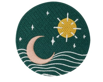 Soul of The Moon Collection: Sun, Moon and Stars Patch to Iron on | Wave Patches, Waves Water Ironing, Patching, Patching