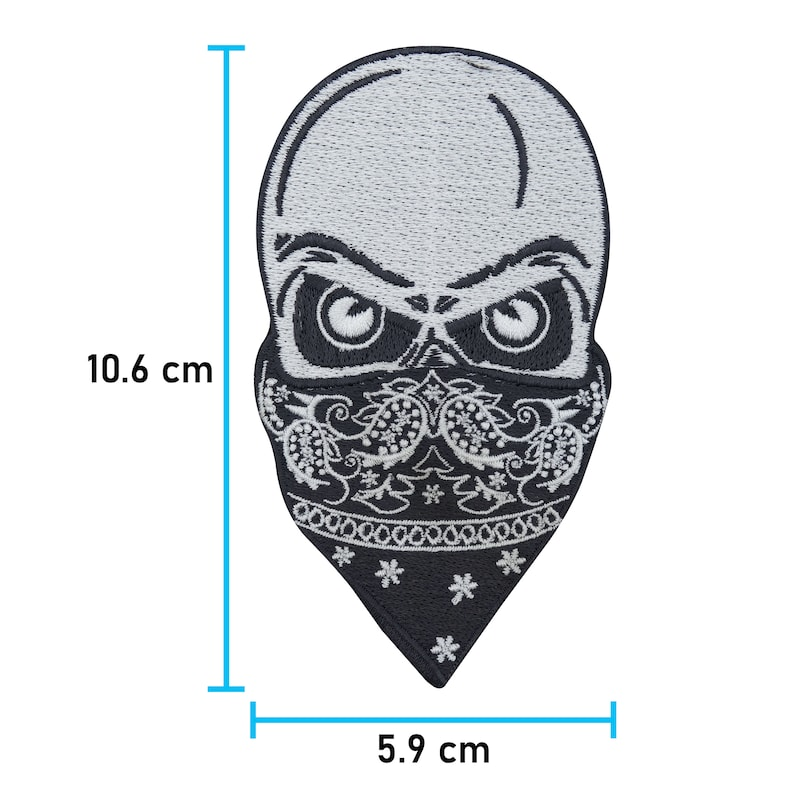 biker skull ironing patches Skull with Bandana Patch to iron on Patch suitable for leather vests skull patches motorcycle