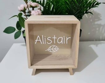 ON SALE- Personalised Wooden Money Box