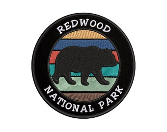 Redwood National Park Black Bear Embroidered Patch Nature Lover Gift Wildlife Hiking Adventure Clothing DIY IronSew-on