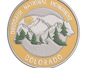 Dinosaur National Monument Colorado Emboridered 3.5 quot Patch - Iron On Sewn - Bears Wildlife - Vacation Tourist Souvenir - Explore More Series