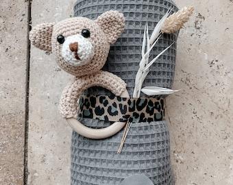 Gift Set Baby Birth newborn rattle bear crochet rattle blanket wafflelpique children's blanket