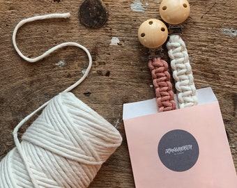 Pacifier ribbon pacifier chain macrame macrame wood fabric baby gift