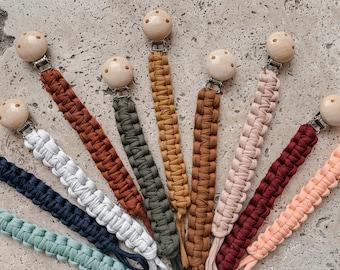 Pacifier ribbon pacifier chain macrame macrame textile yarn wood fabric metal baby gift